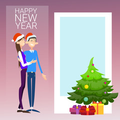 Coupe Celebrate Merry Christmas And Happy New Year Wear Santa Hat Flat Vector Illustration