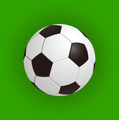 Soccer balls over green field. Seamless background. Vector illustration