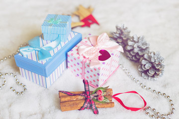 Ornamental gift boxes in holiday environment
