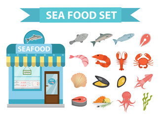 Seafood icons set vector, flat style. Sea food collection isolated on white background. Fish products illustration, design element. Fish store building, showcase