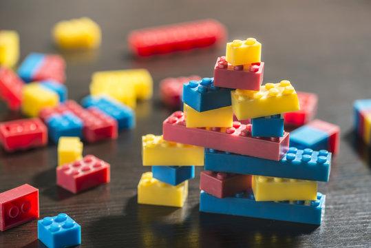 Plastic blocks on table.