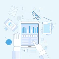 Tablet Finance Chart Business Man Hand Touch Screen Finger, Documents Office Desk Vector Illustration