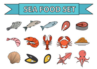 Sea food icons set vector. Modern, line, doodle style. Seafood collection isolated on white background. Fish products illustration, design element