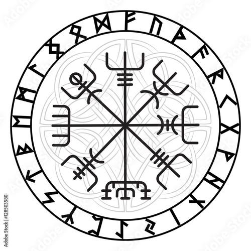 vegvisir the magic navigation compass of ancient icelandic vikings with scandinavian runes. Black Bedroom Furniture Sets. Home Design Ideas