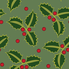 Seamless pattern holly green, vector