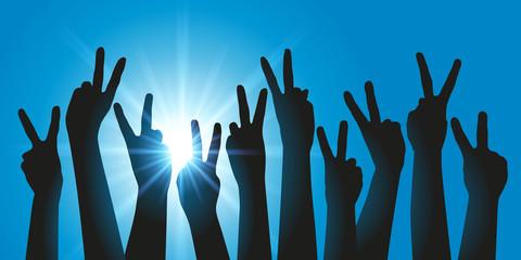 V de la victoire - réussite - succès - Mains