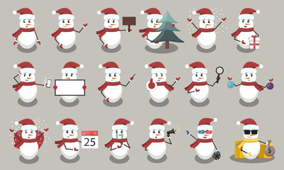 Collection of vector cartoon snowmen character with different situations and poses. Concept of Happy New Year and Christmas.