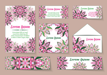 flyer, leaflet, brochure, cover mandala, abstract Oriental motif. Hand painted texture background. Decorative elements for design print. Vector. Laser cut floral wedding invitation occasion. EPS 10