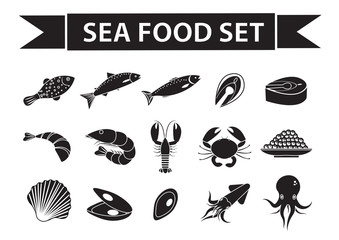 Sea food icons set vector, silhouette, shadow style. Seafood collection isolated on white background. Fish products illustration, design element
