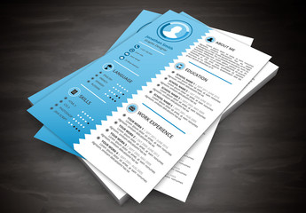 Resume Layout with Blue Scalloped Left Sidebar 1
