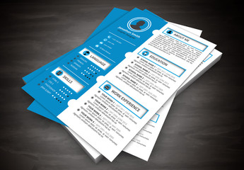Resume Layout with Blue Scalloped Left Sidebar 2