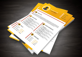 Resume Layout with Yellow Halftone Header