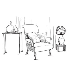 Hand drawn room interior. Chair and lamp.