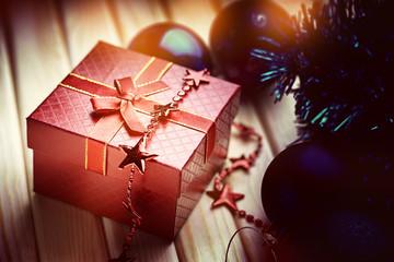 Christmas balls, bijouterie and gift box