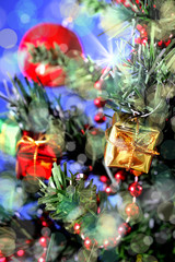an image of gift boxes with Christmas tree
