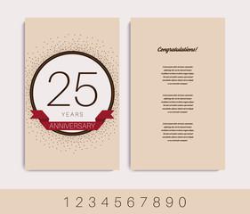 Anniversary 5th, 10th, 15th, 20th, 30th, 40th, 50th, 60th invitation/congratulation card. Vector illustration.