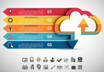 Cloud Element Infographic With Arrow Tabs