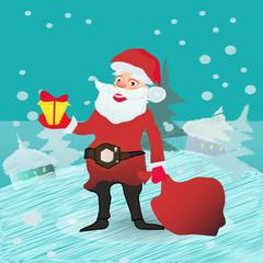 Full length portrait of a Santa Claus posing near bag gifts