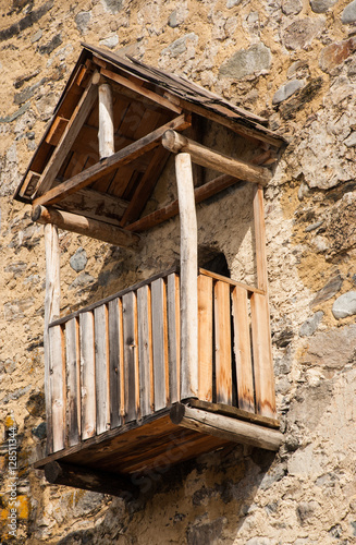 Balcony In Marble Wall : Quot old wooden balcony on stone wall stock photo and royalty