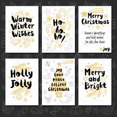 Merry Christmas. Happy New in sketch style. Christmas lettering, calligraphy. Gold, doodles, christmas tree, candy, firecracker, fireworks. Hand drawn vector illustration.
