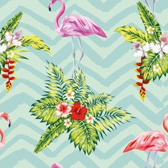 Hand drawn tropical summer seamless pattern with flamingo birds and exotic flowers botanical vector wallpaper