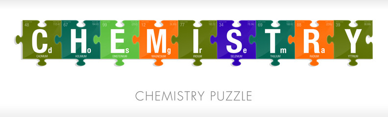 CHEMISTRY word formed by symbols of the Periodic Table of the Elements in the form of puzzle pieces - Vector image