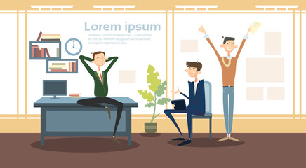 Business Man Group Interior Workplace, Businessman Manager Office Worker Flat Vector Illustration
