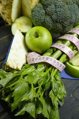 Green vegetables and fruits -  celeriac, broccoli, celery shoots