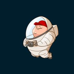 Space tourist in zero gravity