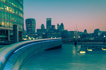 Southwark in London,business offices at sunrise