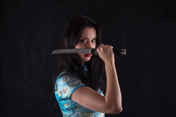 Samurai Girl, female ninja, samurai sword, katana, studio portrait