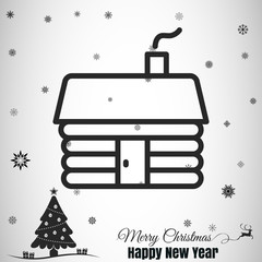 merry christmas cabin icon