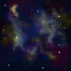 Abstract colorful galaxy background with glittering stars