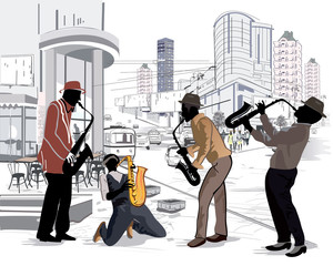 Street musicians in the street of the big city.