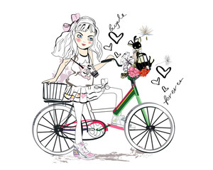 Sketch of a cute baby girl on the bicycle at the street.