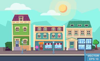 Vector cartoon retro illustration city houses facades landscape. Day cityscape. Old colourful buildings