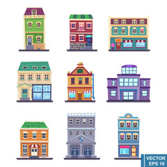 cartoon Apartment Building collection buildings icons set for tourists isolated vector illustration
