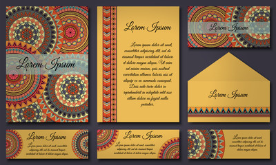 Set of invitation templates with colorful tribal mandalas. Ethnic wedding and invitation cards.