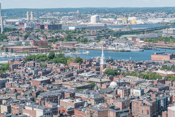 The Old North Church as seen from the observatory at the Custom House building