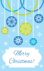 Postcard: Merry Christmas! Christmas balls on the blue background