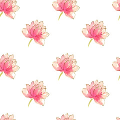 Seamless pattern with beautiful hand drawn water lilies on white background, watercolor illustration.