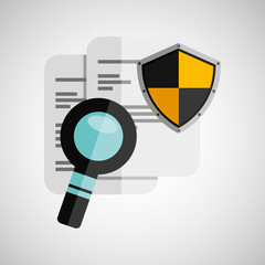 document search shield protection design vector illustration eps 10