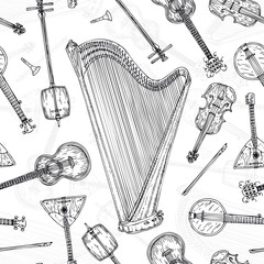 Seamless Pattern. String Musical Instruments