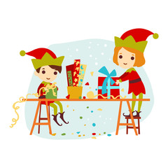 Christmas boy and girl elf packaged gift for Santa Claus