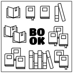 Reading book vector icons set