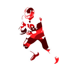 American footbal player, abstract red vector silhouette