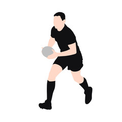 Running rugby player, abstract vector silhouette