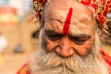 Hindu sadhu holy man near the Ganges river in Varanasi, India