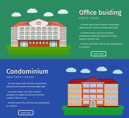 Horizontal banners including office building and apartment house with text. Flat design. Colorful background. Vector illustration.