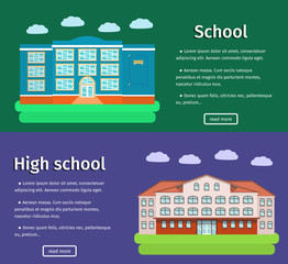 Horizontal banners of school buildings with text in flat design. Colorful background. Vector illustration.